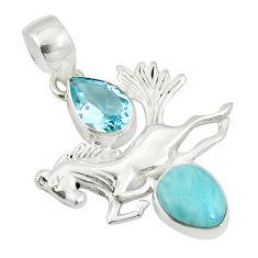 Clearance Sale- Natural blue larimar topaz 925 sterling silver horse charm pendant d27102