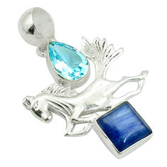 Clearance Sale- 925 sterling silver natural blue kyanite topaz horse charm pendant d27118