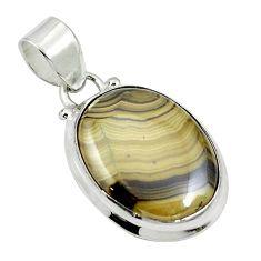 Natural yellow schalenblende polen 925 sterling silver pendant d27119
