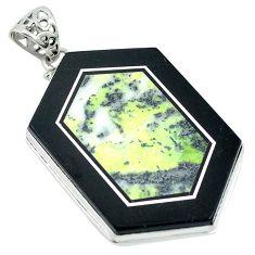 Clearance Sale- Natural green kambaba jasper (stromatolites) 925 silver pendant jewelry d27121