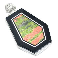 Clearance Sale- 925 sterling silver natural green unakite fancy pendant jewelry d27123