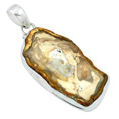 Clearance Sale- Natural brown petrified palm wood 925 sterling silver pendant d27127