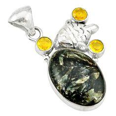 Clearance Sale- raphinite (russian) yellow citrine 925 silver pendant d2726