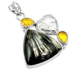Clearance Sale- raphinite (russian) yellow citrine 925 silver pendant d2728