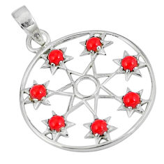 925 sterling silver red coral round shape pendant jewelry d27320