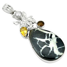 Clearance Sale- Natural black septarian gonads pearl 925 silver angel wings fairy pendant d2743
