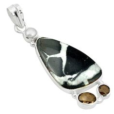 Clearance Sale- Natural black septarian gonads smoky topaz pearl 925 silver pendant d2744