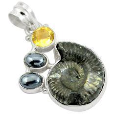 28.30cts natural black pyrite ammonite hematite 925 silver pendant d27521