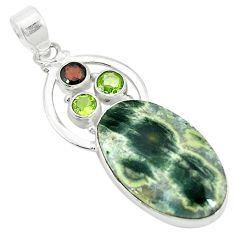 Clearance Sale- ean sea jasper (madagascar) peridot 925 silver pendant d2778