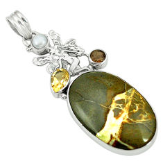 Clearance Sale- Natural brown septarian gonads smoky topaz pearl 925 silver pendant d2781
