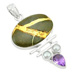 Clearance Sale- 925 silver natural brown septarian gonads purple amethyst pendant jewelry d2784