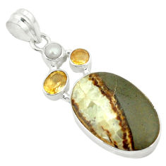 Clearance Sale- Natural brown septarian gonads citrine pearl 925 sterling silver pendant d2799