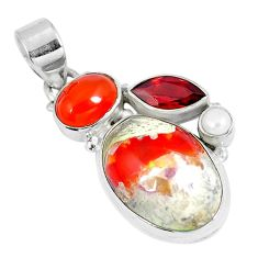 Natural multi color mexican fire opal onyx 925 silver pendant d28004