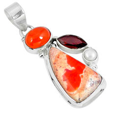 Clearance Sale- Natural multi color mexican fire opal onyx 925 silver pendant d28010