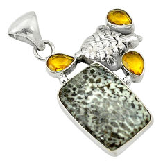 Clearance Sale- Natural black stingray coral from alaska citrine 925 silver pendant d2802