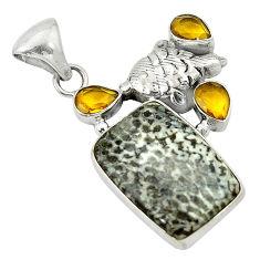 Natural black stingray coral from alaska citrine 925 silver pendant d2802