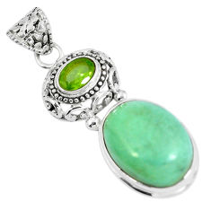 Clearance Sale- 925 sterling silver natural green variscite peridot pendant jewelry d28024