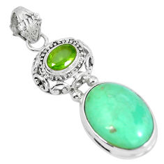 Clearance Sale- Natural green variscite peridot 925 sterling silver pendant d28025