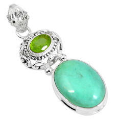 Clearance Sale- Natural green variscite peridot 925 sterling silver pendant jewelry d28027