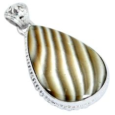 Natural grey striped flint ohio 925 sterling silver pendant jewelry d28042