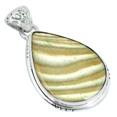 Natural grey striped flint ohio pear 925 sterling silver pendant d28043
