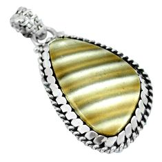 Clearance Sale- 925 sterling silver natural grey striped flint ohio fancy pendant d28044