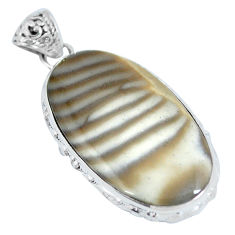 Clearance Sale- 925 sterling silver natural grey striped flint ohio oval pendant d28048