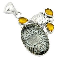Clearance Sale- m alaska citrine 925 silver pendant d2807
