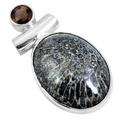 Clearance Sale- Natural black stingray coral from alaska 925 silver pendant d28078