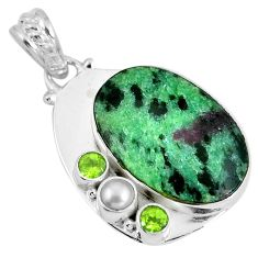 Natural green ruby zoisite peridot 925 sterling silver pendant d28083