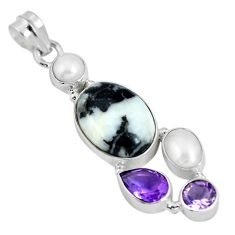 Clearance Sale- Natural black zebra jasper amethyst pearl 925 sterling silver pendant d28096