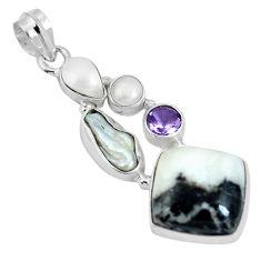 Clearance Sale- 925 sterling silver natural black zebra jasper amethyst pearl pendant d28098