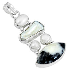 Natural black zebra jasper pearl 925 sterling silver pendant d28099