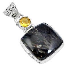 Clearance Sale- Natural golden seraphinite (russian) citrine 925 silver pendant d28111