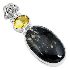 Clearance Sale- Natural golden seraphinite (russian) citrine 925 silver pendant d28114