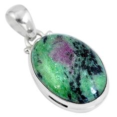 Natural pink ruby zoisite 925 sterling silver pendant jewelry d28121