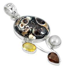 Natural brown turritella fossil snail agate 925 silver pendant d28126