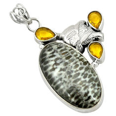 Clearance Sale- 925 silver natural black stingray coral from alaska citrine pendant d2814