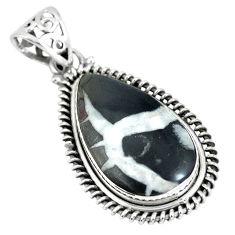 Natural black septarian gonads 925 sterling silver pendant d28141