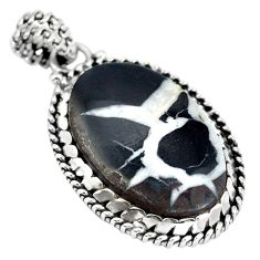 Natural black septarian gonads 925 sterling silver pendant jewelry d28145