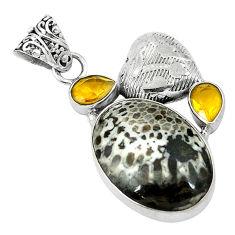 Clearance Sale- m alaska citrine 925 silver pendant d2815