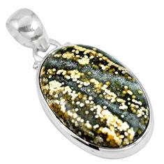 Natural green ocean sea jasper (madagascar) 925 silver pendant d28150