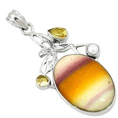 Clearance Sale- Natural brown mookaite pearl citrine 925 silver angel wings fairy pendant d2816