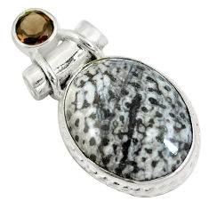 Clearance Sale- Natural black stingray coral from alaska 925 silver pendant jewelry d28171