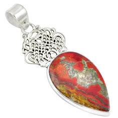 Clearance Sale- 925 sterling silver natural brown moroccan seam agate pear pendant d28173