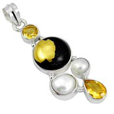 Natural golden pyrite in magnetite (healer's gold) 925 silver pendant d28185