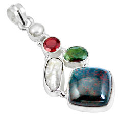 Clearance Sale- Natural green bloodstone african (heliotrope) 925 silver pendant d28189