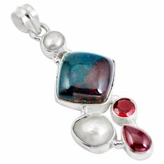 Clearance Sale- Natural green bloodstone african (heliotrope) 925 silver pendant d28190