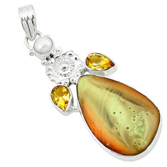Clearance Sale- 925 sterling silver natural brown imperial jasper citrine pearl pendant d2820