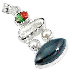 925 silver natural green bloodstone african (heliotrope) pearl pendant d28200